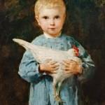 Albert Anker - Knabe mit Huhn